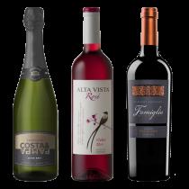 Costa y pampa Extra brut, Alta Vista Malbec Rosé y Famiglia Bianchi Cabernet Sauvignon