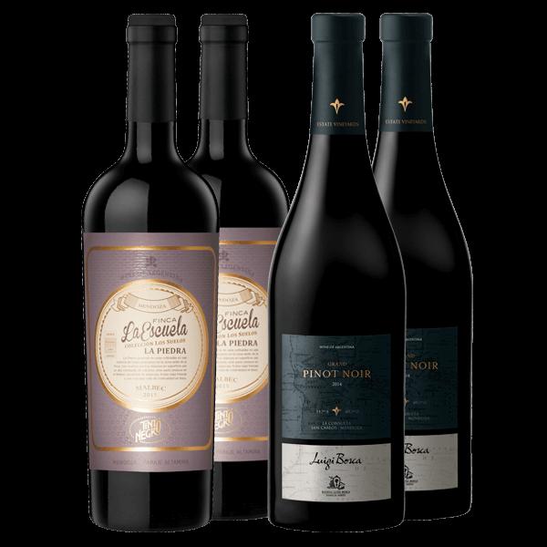 Tinto Negro Finca La Escuela, La Piedra 2015 y Luigi Bosca - Grand Pinot Noir - La Consulta 2014