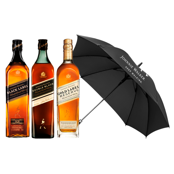 Johnnie Walker Black, Double Black, Gold + Paraguas de REGALO!