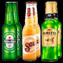 Pack de cerveza Heineken, Sol y Amstel